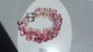 Ethiopian opal and pink topaz silver cluster bracelet. Maria Cossutta.