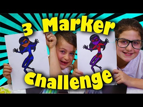 The Incredibles 2 - 3 Marker Challenge with Paint, Sharpies and Crayons