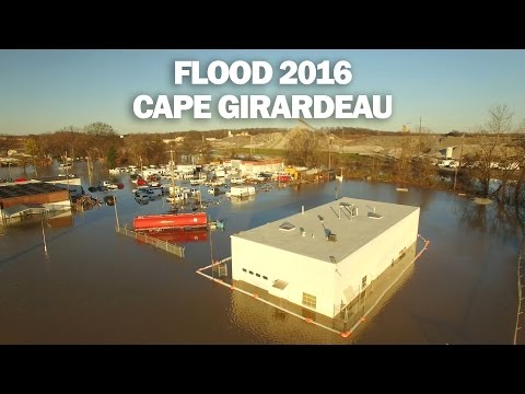 Missouri Flood 2016 - Cape Girardeau - Jan 1st - Aerial Drone 4K Footage