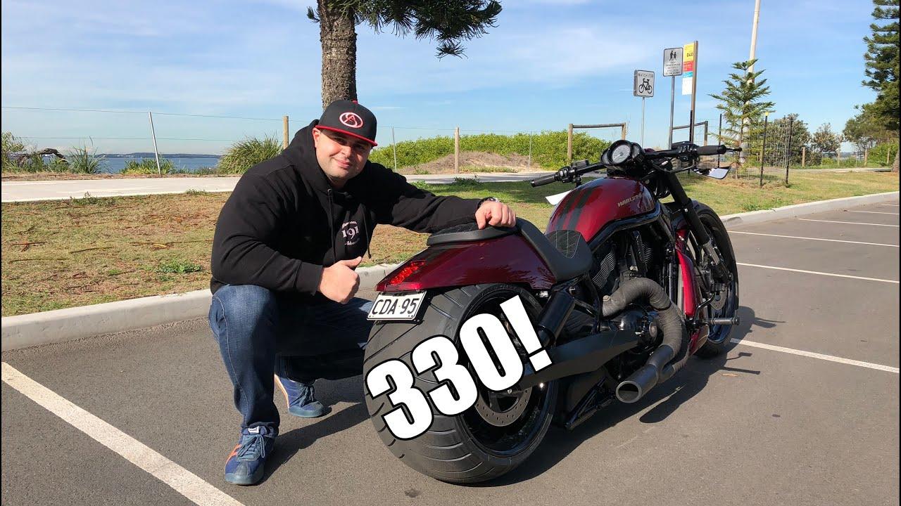 Harley Davidson V-Rod custom Night Rod 330 rear tire & Review