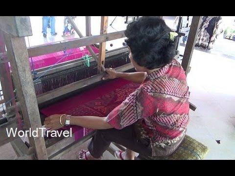 Batik painting and cool silk looms in Bali Indonesia.