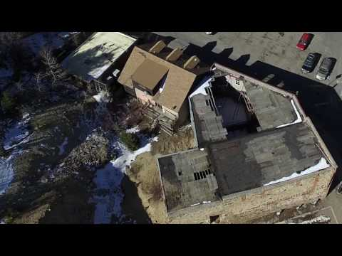 Historic Knights of Pythias building drone video. Central City, Colorado