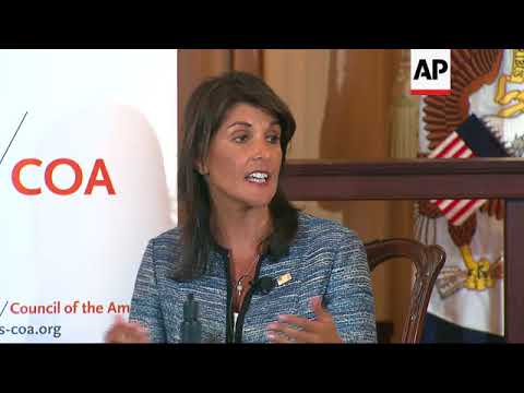 US UN Ambassador Nikki Haley talks the border, Syria, Venezuela