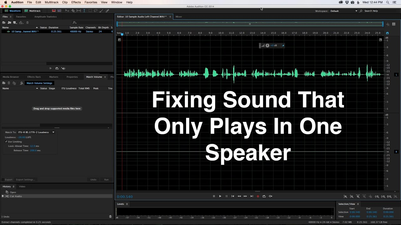 Fixing Sound That Only Plays In One Speaker Youtube Pc To Pa System Interface Premium