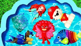 Learn Characters Names with Chase, Ariel and Animals in Pool for Kids
