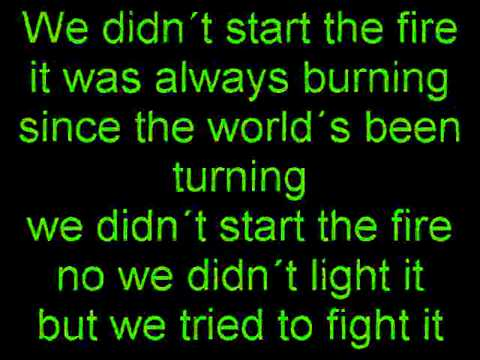 Billy Joel We didn´t start the fire Lyrics on Screen
