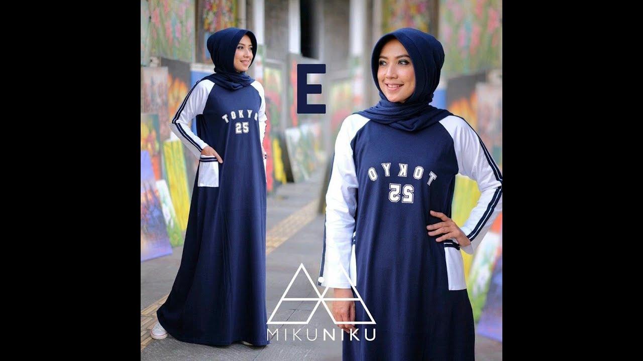 Gamis Dress Kaos Katun Combad Model Simple Untuk Harian / Jalan