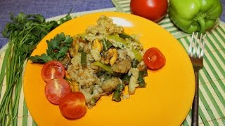 Паэлья с морепродуктами экономичная. Испанская кухня.