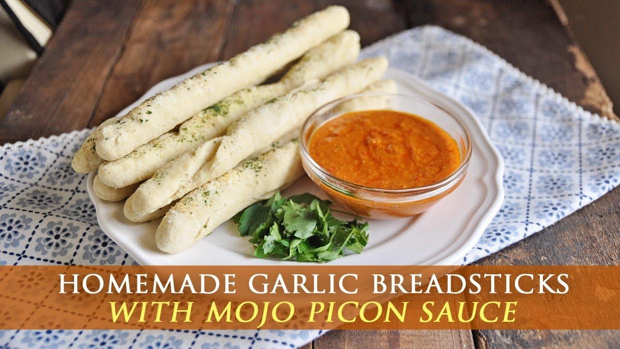 Homemade Garlic Breadsticks with Mojo Picon Sauce