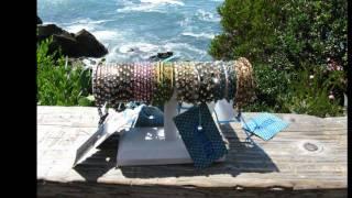 Aquanetz leather swarovski crystal wrap bracelets laguna beach