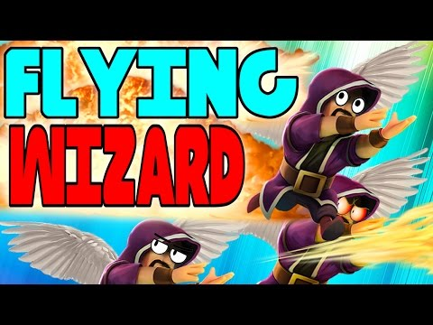 CLASH OF CLANS - FLYING WIZARDS! WOW OMFG! (FUNNY MOMENTS + TOWN HALL 10 MAX VS MIN) TROOP RAID!
