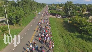 Drone footage shows caravan of migrants in southern Mexico