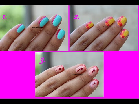 Video tutorial 151 3 Nail art FACILI per UNGHIE CORTE, Estate 2016, By  Flaylook