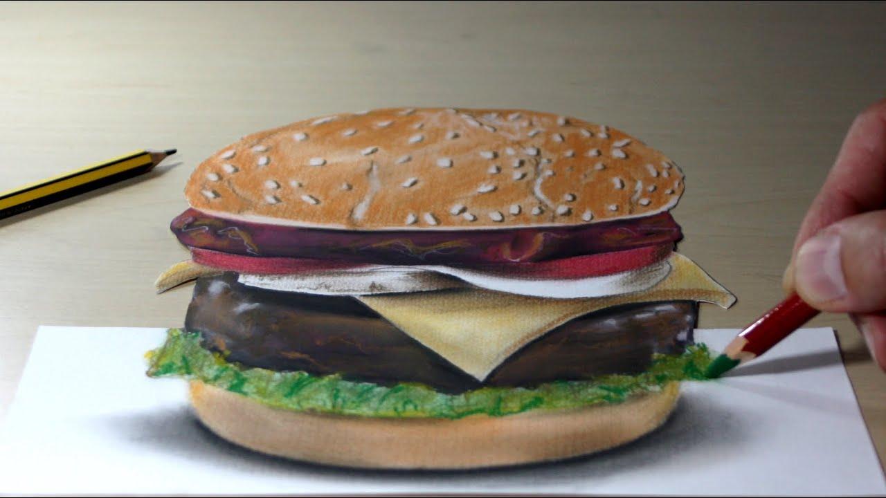 3d trick art on paper hamburger