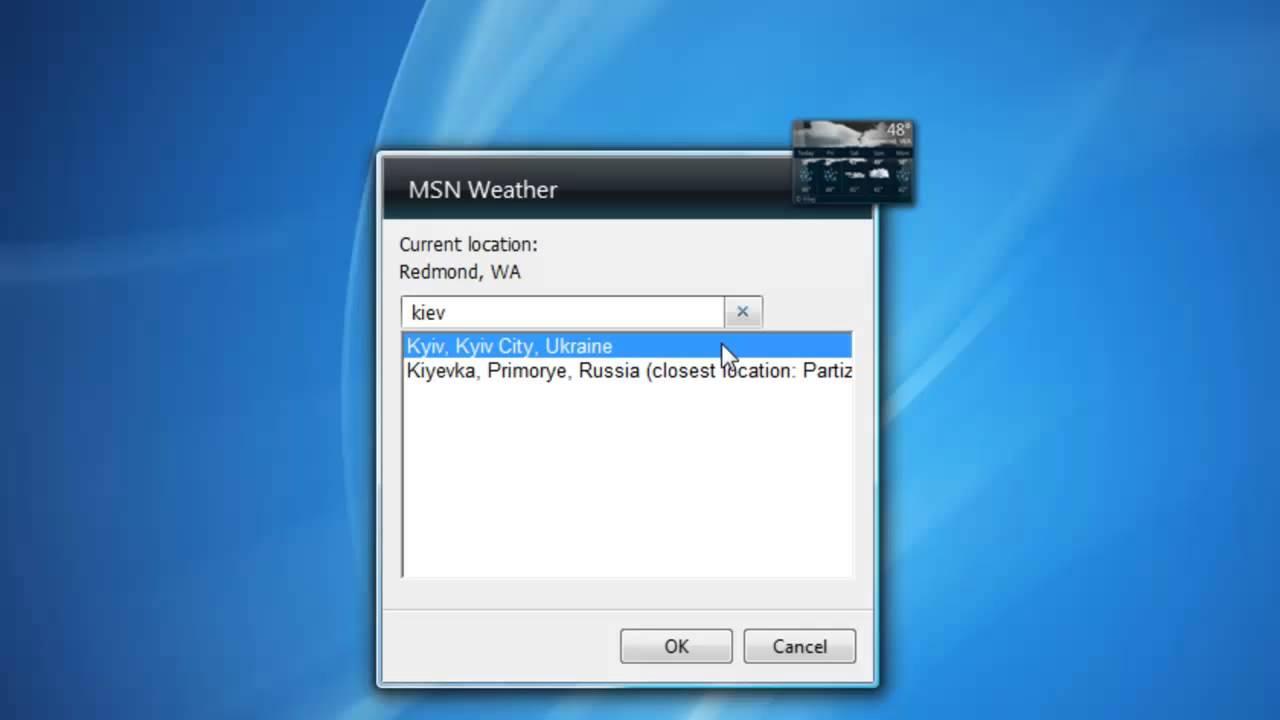 Msn Weather - Windows 7 Desktop Gadget