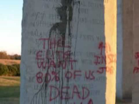 Geia Guidestones Vandalized by Spray Paint  YouTube