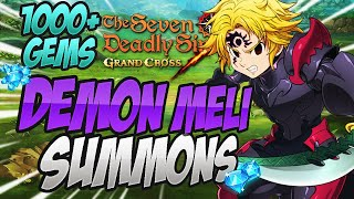 OVER 1000 GEMS! Blue Demon Meliodas Summons! Seven Deadly Sins Grand Cross