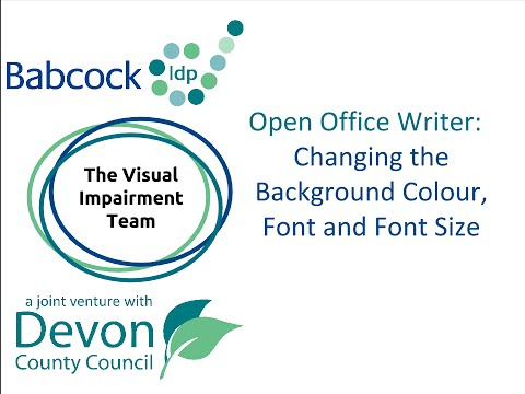 changing the background colour font and font size settings in open office writer