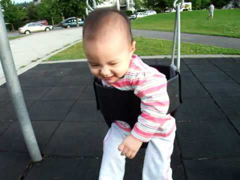 8 Month Old First Time On A Swing
