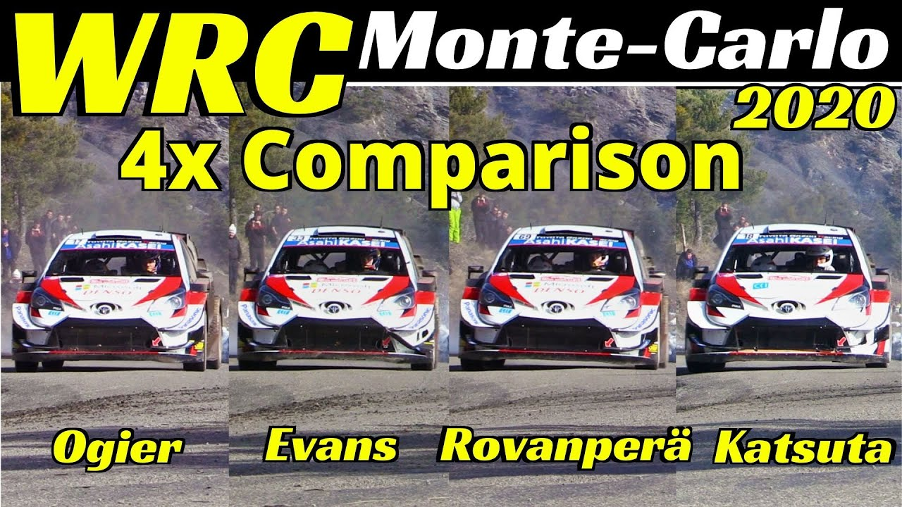 WRC Rallye Monte-Carlo 2020, 4x Comparison: Ogier vs Evans vs Rovanperä vs Katsuta, Toyota Yaris WRC
