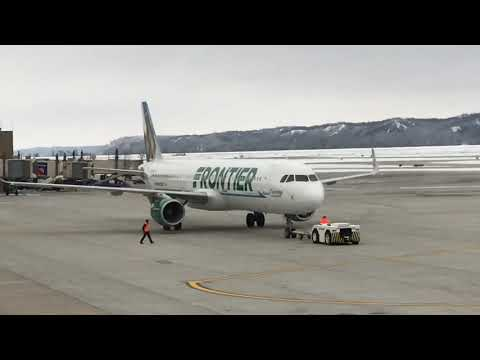 Frontier airlines A321 pushback at Omaha Eppley Airfield.