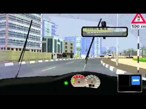 Driving simulator with Arabic language and 3D environment.