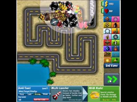 Bloons Tower Defense 4 - Track 1- Hard - No Banana Farm - No Miss