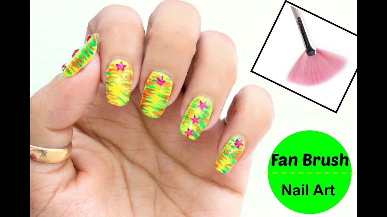 Easy Nail Art using Fan Brush - YouTube