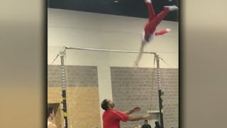 Raw Video: Gymnastics Coach Moves In To Save Athlete From Dangerous Fall