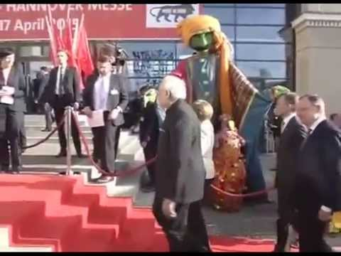 PM Modi arrives to attend Messe Trade fair 2015 in Hannover