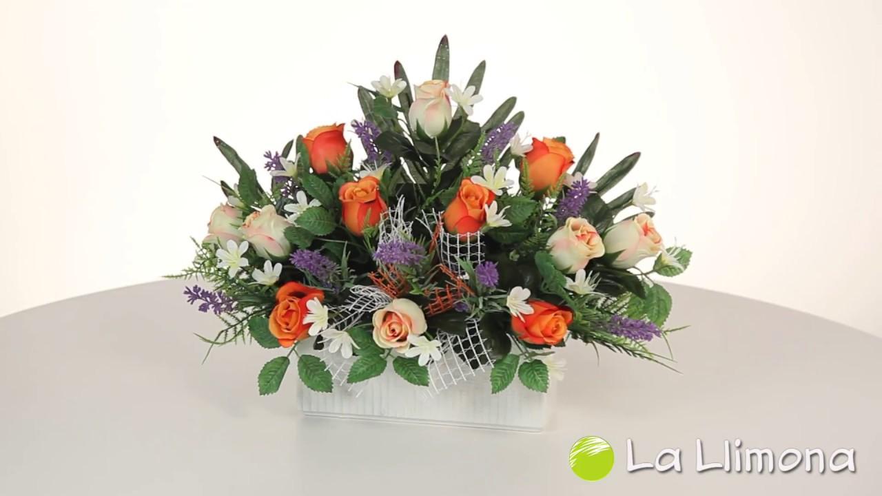 Arreglo Floral Artificial Jardinera Rosas Artificiales Y Lavandas 5061318