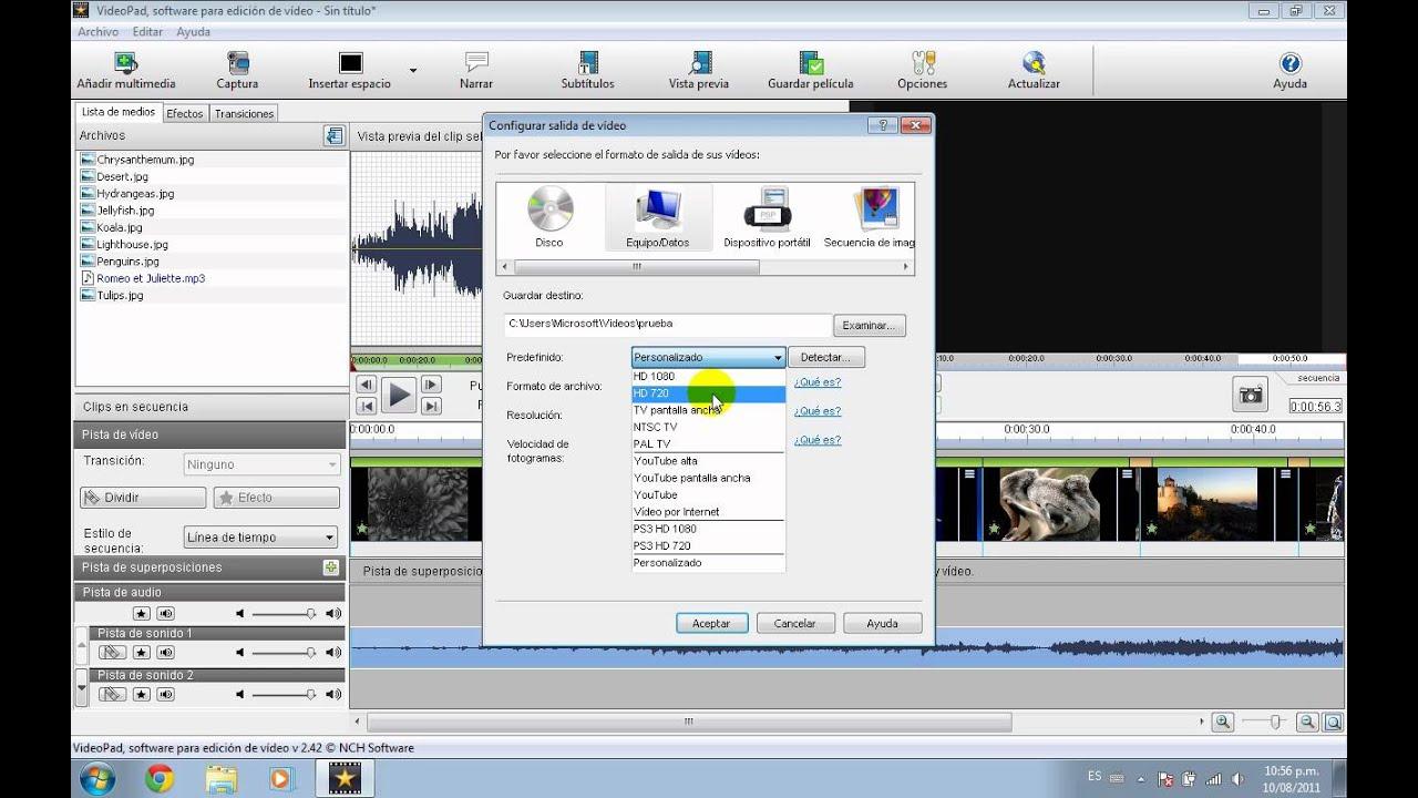 Tutorial VideoPad 04 Guardar Vídeo - YouTube