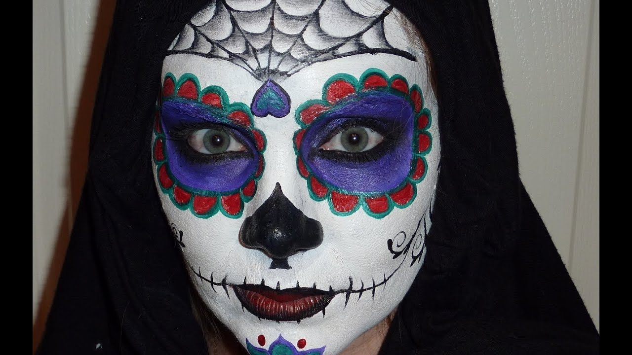 Sugar Skull Face Painting Tutorial - YouTube