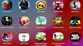 RescueCut,SpiderMan,HorrorShow,BrawlStars,Bendy,IceScream2,TaxiSim,AngryBirds,GTA3,