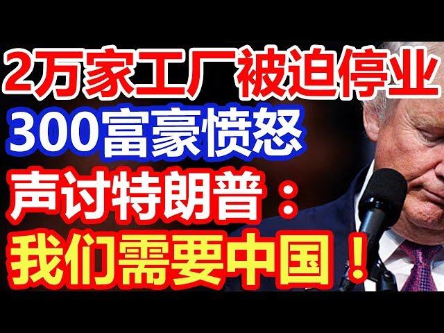 2万家工厂被迫停业,300富豪愤怒声讨特朗普:我们需要中国
