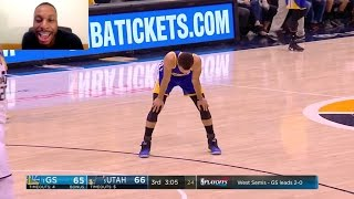 STEPHEN CURRY MAKES A THREE AFTER A FAST BREAK BUT IT MAKES HIM EXHAUSTED! CURRY GOT NO STAMINA NOW?