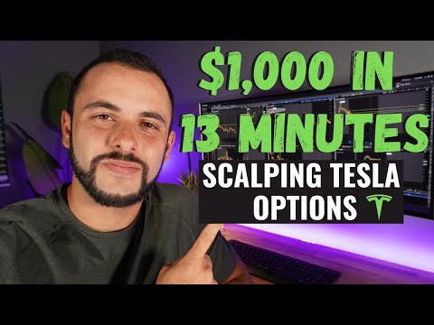 $1,000 in 13 Minutes Scalp Trading Tesla Options - VWAP Options Strategy
