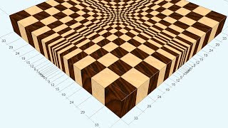 """3d End Grain Cutting Board #1 To Make With The Use Of 13"""" Planer (version For Woodworkers)"""