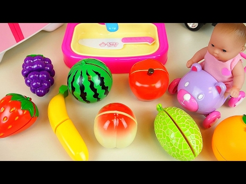 Fruit cutting kichen toys and baby doll play