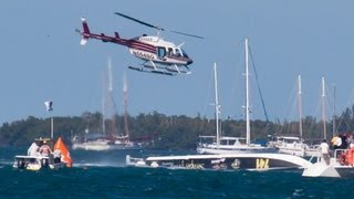 Offshore Turbine Powerboat Semper Fi gets ready, races,crashes and is lifted at Key West