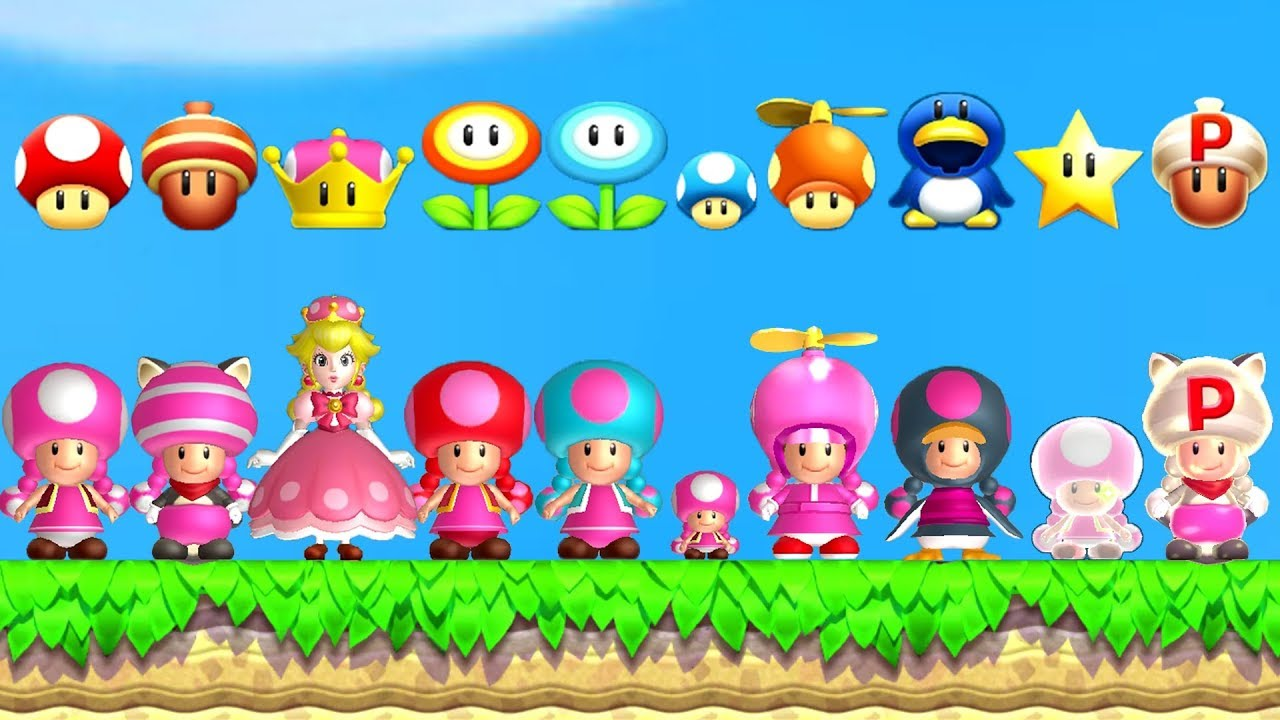 New Super Mario Bros U Deluxe All Toadette Power Ups