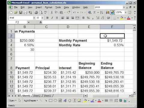 mortgage formula in excel