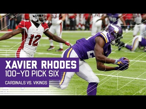 Xavier Rhodes' 100Yard Pick Six is a Vikings Record!  Cardinals vs. Vikings  NFL