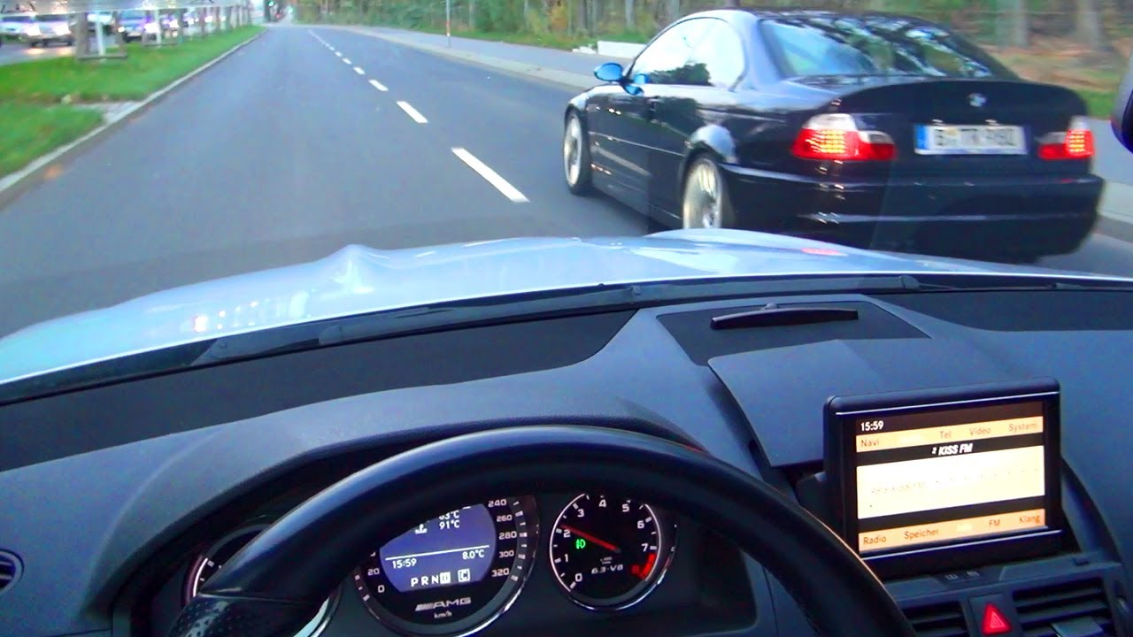 mercedes-c63-amg-bmw-m3-e46-drive-in-the-city-onboard-v8-sound-driver-view-w204-benz-acceleration