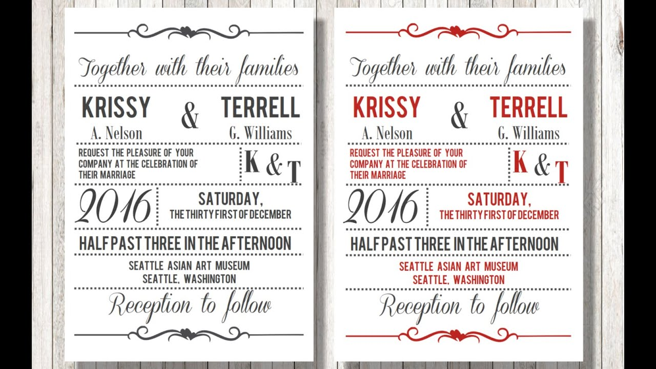 how to make wedding invitations on word