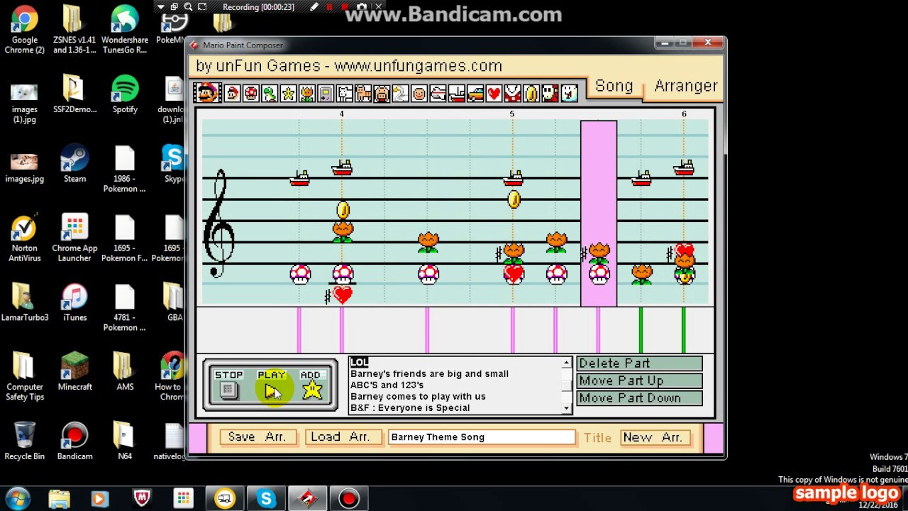 barney u0026 friends theme song mario paint edition youtube