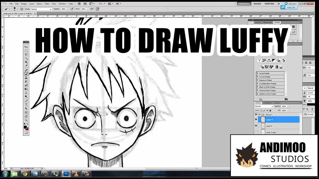 how to draw luffy youtube