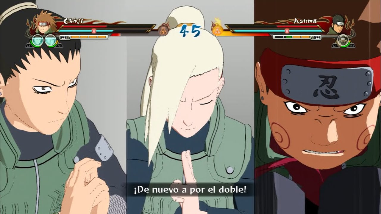 Choji, Shikamaru & Ino vs Asuma | Naruto Shippuden Storm ...