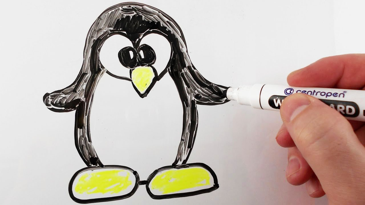 How to draw penguin for kids drawing on a whiteboard for Cute whiteboard drawings