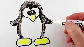 How to Draw Penguin for Kids / Drawing on a Whiteboard